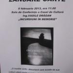 """Miercuri, 6 februarie 2013, lansare de carte la Cugir – """"Incursiuni în Memorie"""", de Vasile Drăgan"""