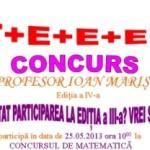 Sâmbătă la Cugir va avea loc un concurs de matematică în memoria profesorului Ioan Mariş