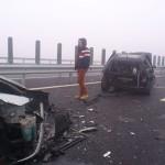 Circa 40 de mașini au intrat în coliziune în această dimineață pe autostrada A1 între Sebeș și Cunța
