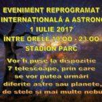 Mâine, 1 iulie 2017, la Cugir va fi sărbătorită ZIUA INTERNAȚIONALĂ a ASTRONOMIEI